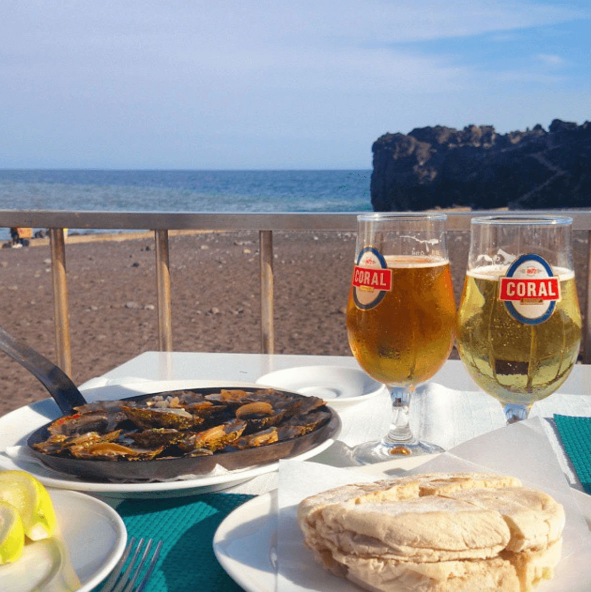 Limpets and beer at Formosa Beach
